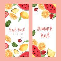 Conception de menus de fruits tropicaux, mangue de melon d'eau, fruit de la passion d'été, fraise, orange, cadre frais et savoureux, bannière, illustration vectorielle de carte design. vecteur