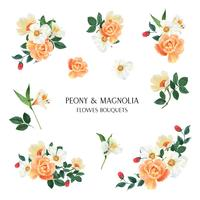 Pivoine, Magnolia, Lily fleurs vecteur de lustration isolé fleurs aquarelle bouquets