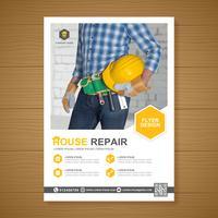 Les outils de construction couvrent un modèle a4 et des icônes plats pour une conception de rapport et de brochure, dépliant, bannière, décoration de tracts pour illustration vectorielle de présentation et d'impression