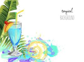 Cocktail. Fond de cocktail tropical de l'été avec des feuilles de palmier. vecteur