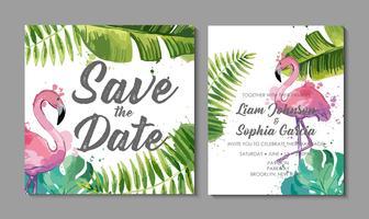 Suite d'invitation de mariage avec des feuilles tropicales exotiques. vecteur