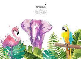Fond avec des feuilles tropicales flamant rose, perroquet et éléphant.