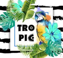 Fond exotique avec perroquet et feuilles tropicales.