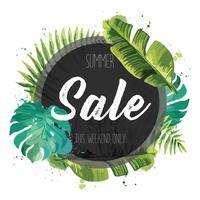 Bannière de vente, affiche avec des feuilles de palmier, feuille de jungle.