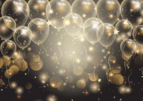 Fond de célébrations avec des ballons d'or vecteur