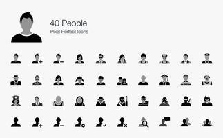 Icônes parfaites de 40 personnes Pixel. vecteur