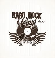 Disque vinyle hard rock fond rétro