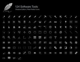 Outils logiciels et interfaces utilisateur Pixel Perfect Icons Shadow Edition. vecteur