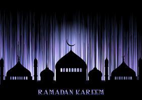 Fond de Ramadan Kareem avec des silhouettes de mosquée