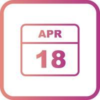 Calendrier du 18 avril avec un seul jour vecteur