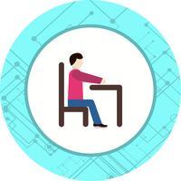 Assis sur le bureau icône Design