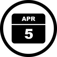 5 avril Date sur un calendrier à jour unique