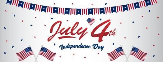 RGB4 basique juillet etats-unis joyeuse fête de l'indépendance salutations pour bannière de taille de mur de page de fan de médias sociaux avec drapeau américain et motif bleu rouge vecteur