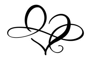 Signe d'amour coeur pour toujours logo. Symbole Infinity romantique lié, rejoindre, passion et mariage. Modèle de t-shirt, carte, affiche. Élément plat de conception de la Saint-Valentin. Illustration vectorielle vecteur