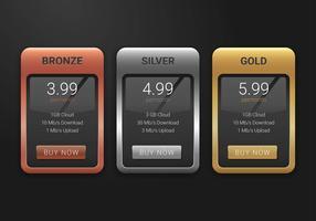 Tableau de tarification Couleur des mines vecteur