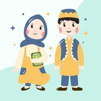 Vecteur de garçon et fille musulmane