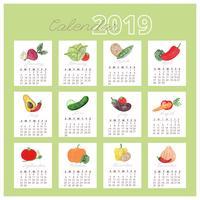 Calendrier des légumes à l'aquarelle 2019