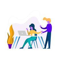 Illustration vectorielle de plat bureau compagnons scène