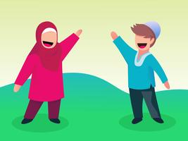 Enfants musulmans mignons vecteur