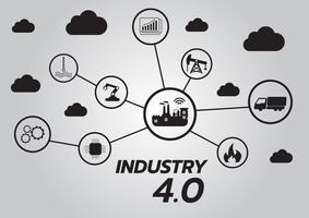 Icône du concept Industry 4.0, réseau Internet des objets, solution d'usine intelligente, technologie de fabrication, robot automatisé avec fond gris