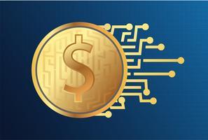 Modèle de vecteur de conception puce numérique Coin Logo