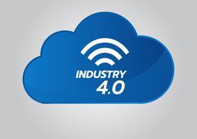 Concept industriel 4.0, icône de vecteur d'usine intelligente. Illustration Wi Fi Plant. Technologie industrielle de l'Internet des objets (IoT).