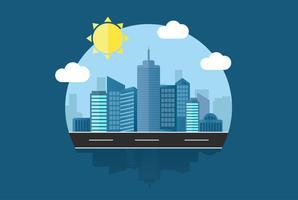 Paysage urbain ville fond Design plat Concept icône modèle vecteur