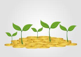 Concept d'entreprise, arbre en croissance de tas de pièce d'or
