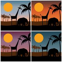 silhouette de scène de jungle avec des arrière-plans dégradés de coucher de soleil vecteur