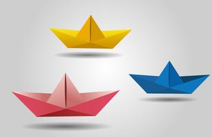 bateau découpé en papier, navires