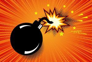 Bombe dans le style pop art et bulle de dialogue comique. Dynamite de bande dessinée à l'arrière-plan avec demi-teinte points et sunburst.