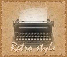 illustration vectorielle de style rétro affiche vieille machine à écrire