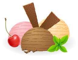 boules de crème glacée vector illustration