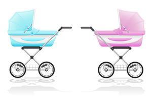 illustration vectorielle rose et bleu bébé poussette