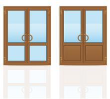 illustration vectorielle de portes transparentes en plastique brun