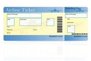 illustration vectorielle de billet d'avion classe affaires