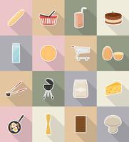 nourriture et objets plats icônes vector illustration