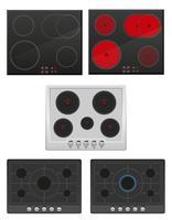 définir la surface pour l'illustration vectorielle de cuisinière à gaz et électrique