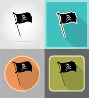 drapeau pirate icônes plats vector illustration