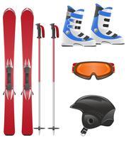 illustration vectorielle de jeu d'icônes de matériel de ski vecteur