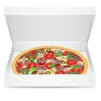 la pizza est dans une boîte en carton vecteur