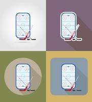 stade de hockey icônes plats vector illustration
