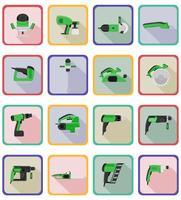 outils électriques pour la construction et la réparation des icônes plats vector illustration