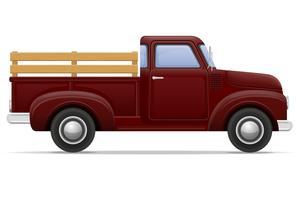 illustration vectorielle de vieille voiture rétro pickup