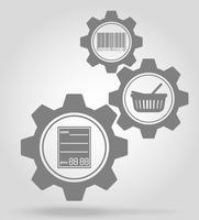 illustration vectorielle de marchandise engrenage mécanisme concept