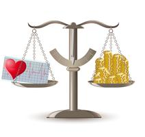 échelles choix santé ou argent vecteur