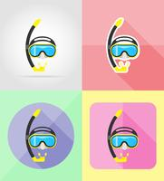 masque et tube pour la plongée icônes plats vector illustration
