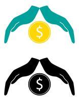 concept de protection et d'amour de l'illustration vectorielle argent