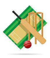 aire de jeux pour illustration vectorielle de cricket vecteur