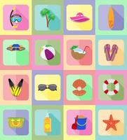 objets de loisirs une illustration vectorielle de plage icônes plat